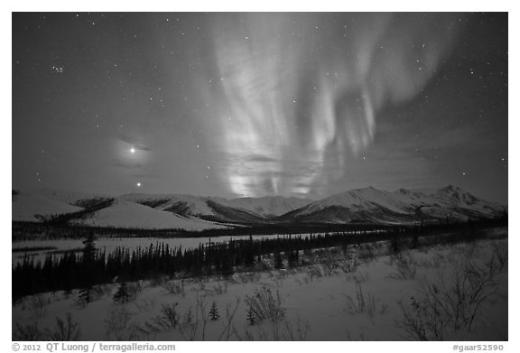 Venus, Jupiter, and Aurora. Gates of the Arctic National Park (black and white)