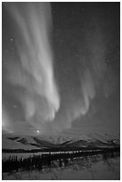 Aurora and Jupiter over Brooks Range. Gates of the Arctic National Park, Alaska, USA. (black and white)
