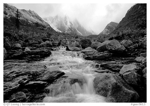 Stream and Arrigetch Peaks. Gates of the Arctic National Park (black and white)