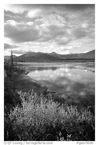 Alatna River valley near Circle Lake, evening. Gates of the Arctic National Park (black and white)