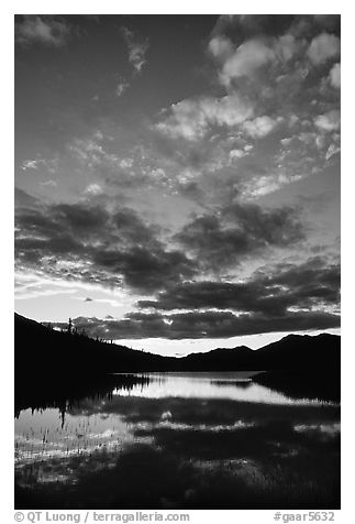 Sky and Alatna River reflections,  sunset. Gates of the Arctic National Park (black and white)