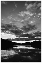 Sky and Alatna River reflections,  sunset. Gates of the Arctic National Park ( black and white)