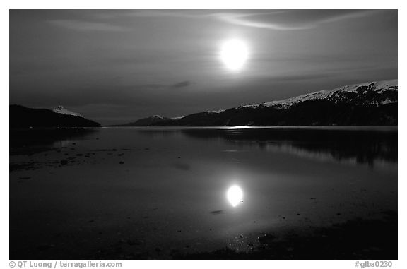 Full moon, 1am, Muir inlet. Glacier Bay National Park (black and white)