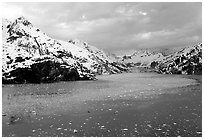 John Hopkins inlet with floating ice in late May. Glacier Bay National Park ( black and white)