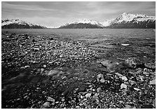 Stream and West arm. Glacier Bay National Park, Alaska, USA. (black and white)