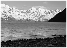 Snowy mountains of Fairweather range and West Arm, morning. Glacier Bay National Park, Alaska, USA. (black and white)