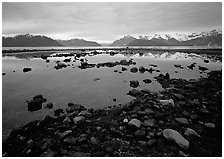 Accross the West arm from near Scidmore bay. Glacier Bay National Park ( black and white)