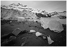 Beach, translucent iceberg, Lamplugh Glacier. Glacier Bay National Park ( black and white)