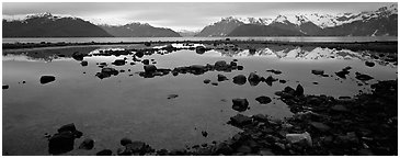 Blue scenery of water and mountains at dusk. Glacier Bay National Park (Panoramic black and white)