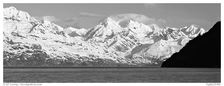 Snow-covered Fairweather mountains. Glacier Bay National Park (black and white)