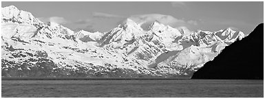 Snow-covered Fairweather mountains. Glacier Bay National Park (Panoramic black and white)