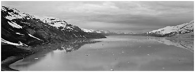 Marine scenery with snowy mountains and ice. Glacier Bay National Park (Panoramic black and white)