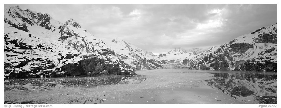 Fjord landscape with mountains and glaciers. Glacier Bay National Park (black and white)