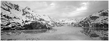 Fjord landscape with mountains and glaciers. Glacier Bay National Park (Panoramic black and white)