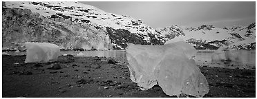 Beach iceberg and tidewater glacier front. Glacier Bay National Park (Panoramic black and white)