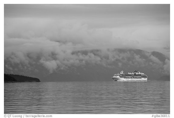 Cruise vessel in blue seascape. Glacier Bay National Park (black and white)