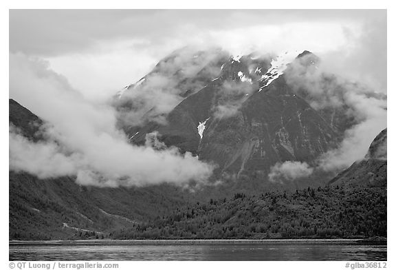 Peaks and low rain clouds. Glacier Bay National Park (black and white)