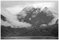 Peaks and low rain clouds. Glacier Bay National Park ( black and white)