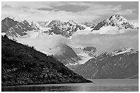 Peaks of Fairweather range with clearing clouds. Glacier Bay National Park ( black and white)
