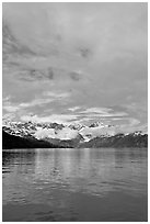 Fairweather range with clearing clouds. Glacier Bay National Park, Alaska, USA. (black and white)
