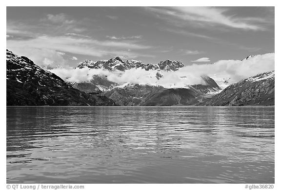 Fairweather range and reflections. Glacier Bay National Park (black and white)