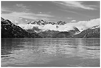 Fairweather range and reflections. Glacier Bay National Park, Alaska, USA. (black and white)