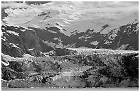 Tidewater glacier, West Arm. Glacier Bay National Park, Alaska, USA. (black and white)