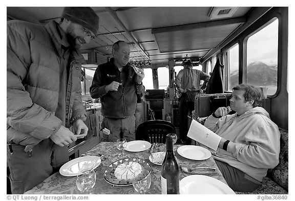 Appetizer served in the main cabin of the Kahsteen. Glacier Bay National Park (black and white)