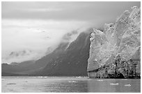 Margerie Glacier and foggy mountains surrounding Tarr Inlet. Glacier Bay National Park, Alaska, USA. (black and white)