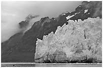 Terminal front of Margerie Glacier with blue ice. Glacier Bay National Park, Alaska, USA. (black and white)
