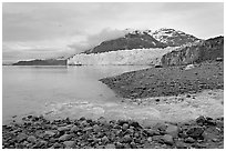 Stream flowing into Tarr Inlet, and Margerie Glacier. Glacier Bay National Park ( black and white)