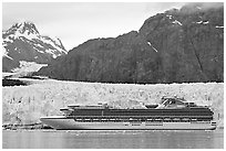 Cruise ship stopping next to Margerie Glacier. Glacier Bay National Park ( black and white)