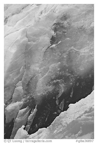 Ice wall detail, Reid Glacier. Glacier Bay National Park (black and white)