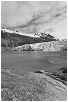 Reid Inlet and Reid Glacier terminus. Glacier Bay National Park ( black and white)