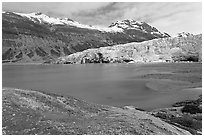 Reid Inlet and Reid Glacier. Glacier Bay National Park ( black and white)
