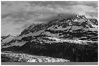 Mt Cooper and Lamplugh glacier, late afternoon. Glacier Bay National Park ( black and white)