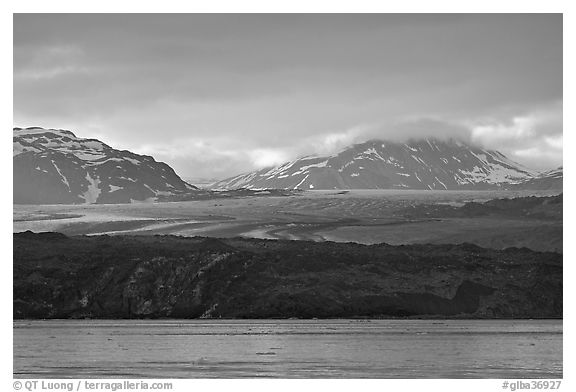 Grand Pacific Glacier glowing the the late afternoon light. Glacier Bay National Park (black and white)