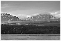 Grand Pacific Glacier glowing the the late afternoon light. Glacier Bay National Park, Alaska, USA. (black and white)