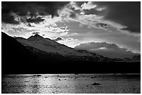 Mount Eliza and Tarr Inlet under clouds at sunset. Glacier Bay National Park ( black and white)