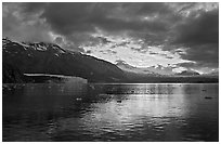 Mount Forde, Margerie Glacier, Mount Eliza, Grand Pacific Glacier, at sunset. Glacier Bay National Park ( black and white)