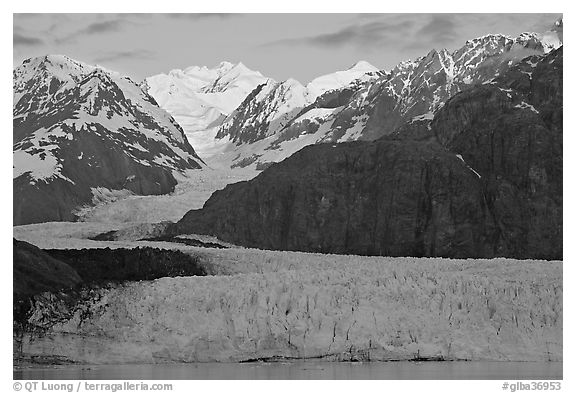 Mount Fairweather and Margerie Glacier, sunrise. Glacier Bay National Park (black and white)