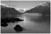 Mount Fairweather, Margerie Glacier, Mount Forde, and Tarr Inlet, early morning. Glacier Bay National Park, Alaska, USA. (black and white)