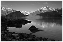 Mount Fairweather, Margerie Glacier, Mount Forde, and cove. Glacier Bay National Park, Alaska, USA. (black and white)