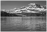 Mount Cooper and Lamplugh Glacier, reflected in rippled waters of West Arm, morning. Glacier Bay National Park, Alaska, USA. (black and white)