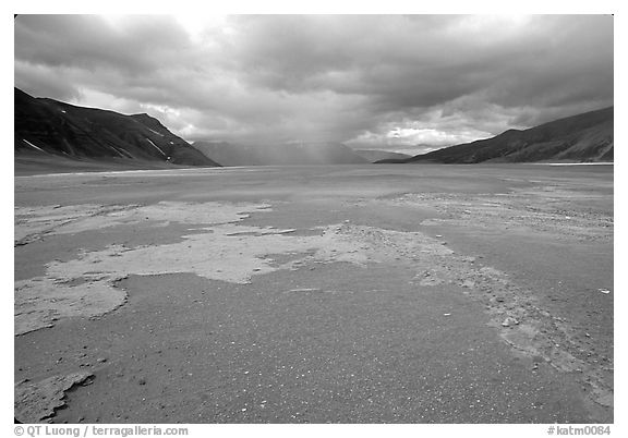 Colorful slabs in the ash-covered floor of the Valley of Ten Thousand smokes. Katmai National Park (black and white)