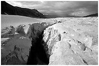 Deep gorge carved by the Lethe river in the ash-covered floor of the Valley of Ten Thousand smokes. Katmai National Park, Alaska, USA. (black and white)