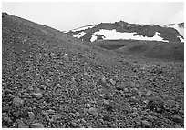 Pumice and Novarupta (the center of the 1912 eruption), Valley of Ten Thousand smokes. Katmai National Park, Alaska, USA. (black and white)