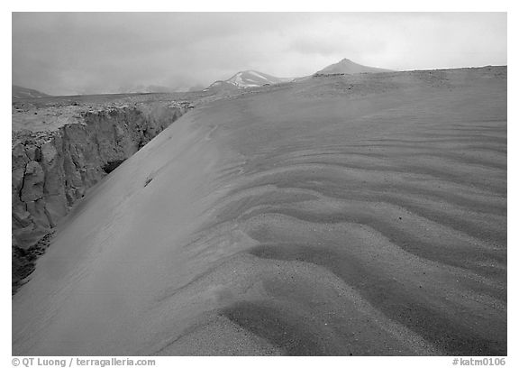 Ash dune formation, Valley of Ten Thousand smokes. Katmai National Park (black and white)