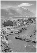 Convergence of the Lethe river and and Knife river, Valley of Ten Thousand smokes. Katmai National Park, Alaska, USA. (black and white)