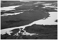 Patterns of melting snow, Valley of Ten Thousand smokes. Katmai National Park ( black and white)